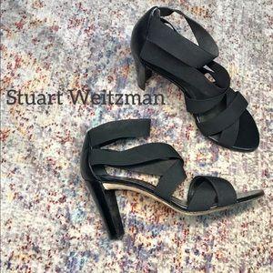 Stuart Weitzman Black elastic strap heels (8)